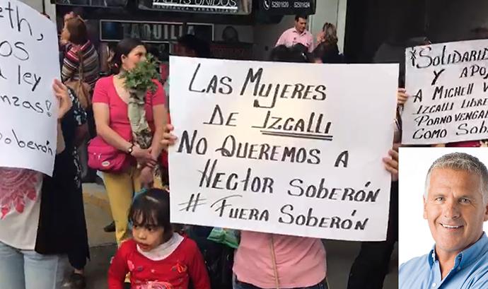 Mujeres protestan contra candidatura del actor Héctor Soberón