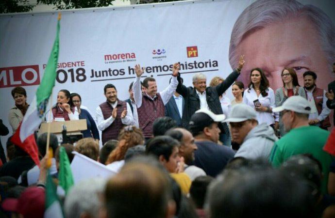 Benito Juárez era la delegación más panista, tiempo pasado, Morena y Akabani van a ganar: AMLO