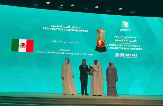 Recibe México Premio Dubái de ONU–Hábitat a través del Infonavit
