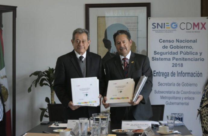 Entrega SECGOB a INEGI censo sobre resultados en seguridad y sistema penitenciario