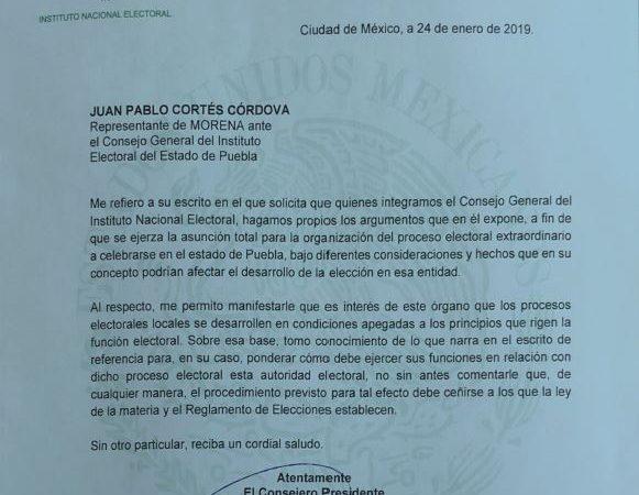 Informa presidente del INE que estudiará petición de organizar elección extraordinaria en Puebla