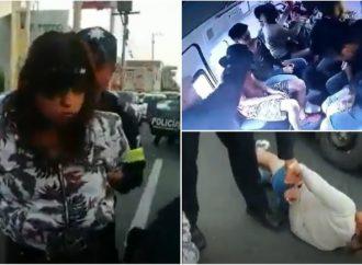 Captan en video asalto en combi en Avenida Central; los detienen gracias a retén