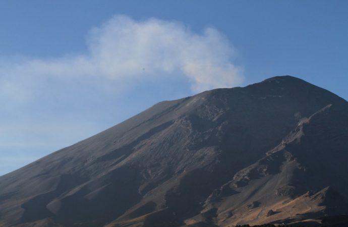 Popocatépetl presenta 62 exhalaciones con ligeras cantidades de ceniza