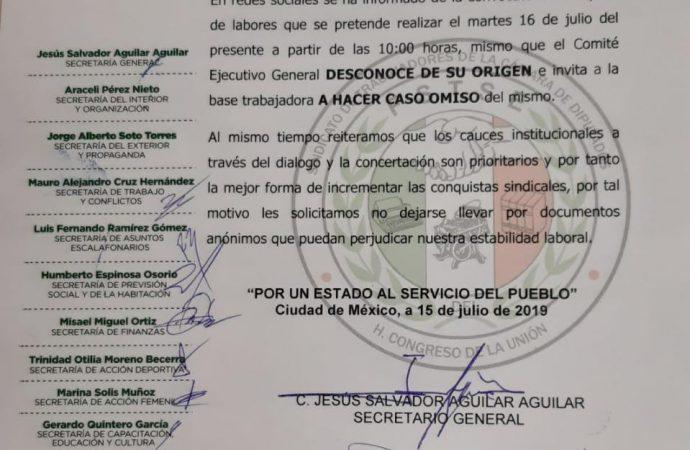 Desmiente Sindicato manifestación de trabajadores en San Lázaro