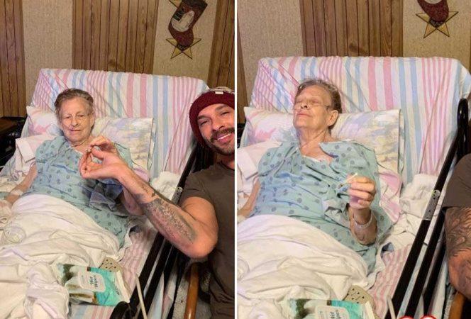 Abuelita pasa sus últimas horas con su nieto fumando mariguana