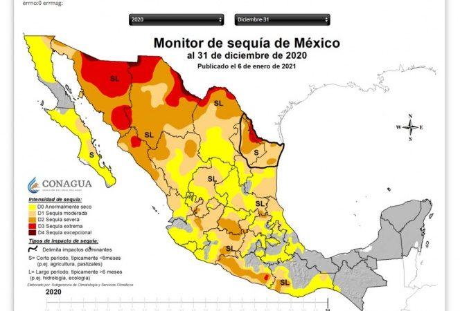 Con algún grado de sequía inicia el 78.42% del país el 2021