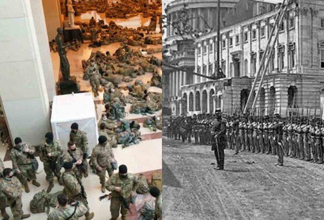Militares dentro del Capitolio recuerdan Guerra Civil en EU