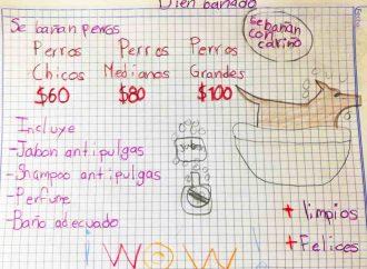 Niño promueve su negocio con dibujos y conmueve a la red