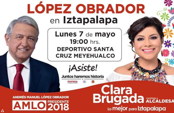 Candidatas de Morena en Iztapalapa aprovechan visita de AMLO