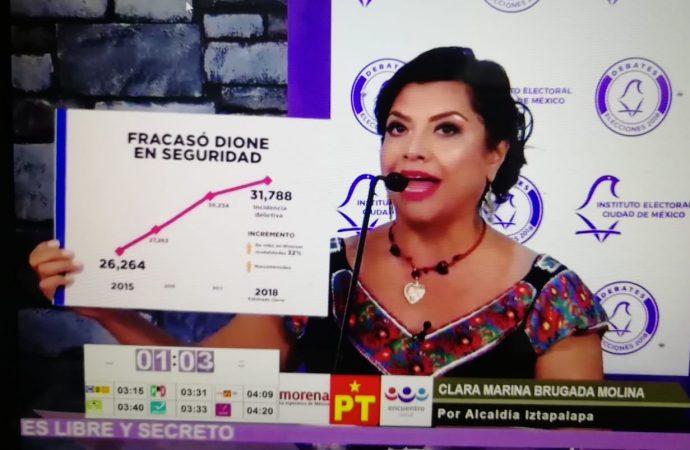 Derrota Clara Brugada a los candidatos del pacto contra méxico en el debate para la alcaldía de Iztapalapa