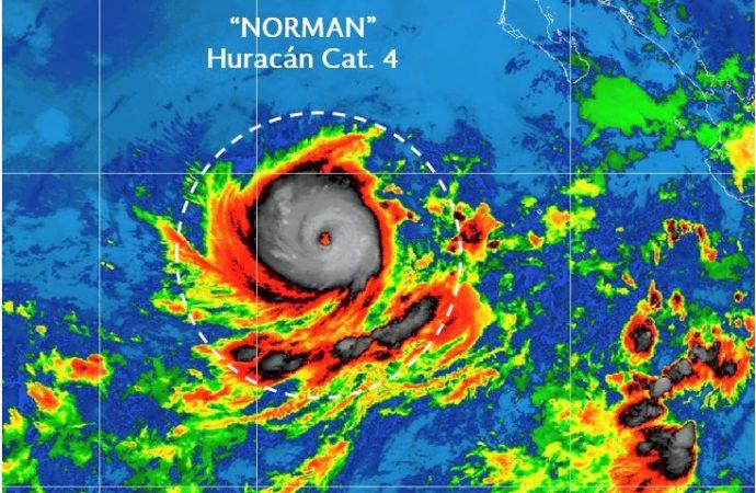 Huracán Norman se intensificó a categoría 4, lejos de costas mexicanas