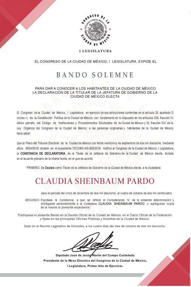 Difunde Congreso CDMX Declaratoria de Titular de Jefatura de Gobierno