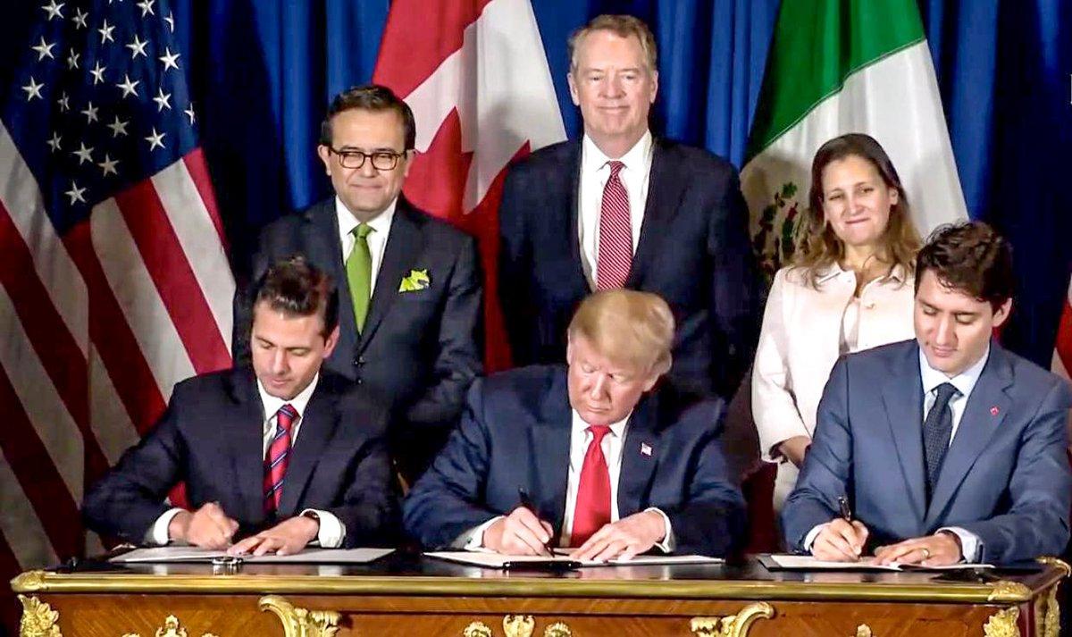 Firman Peña Nieto, Trump y Trudeau nuevo tratado T-MEC