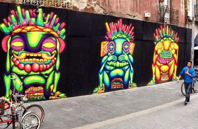 Ocote mezcla en obras neón al México prehispánico y contemporáneo